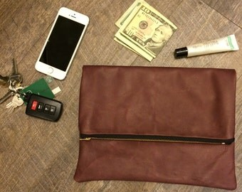 READY TO SHIP Kennedy Clutch, Burgundy Clutch, Leather Clutch, Leather Wallet