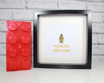 WORLD'S BEST DADDY - Framed gold Lego minifigure - Dad or daddy
