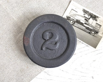 Vintage Weight Measure / Industrial Metal Paperweight / Industrial Salvage