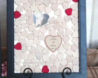 3d guest book guest book frame with hearts Wedding dropbox Alternative Guestbook  drop in Hearts  Rustic wedding guest book drop top box