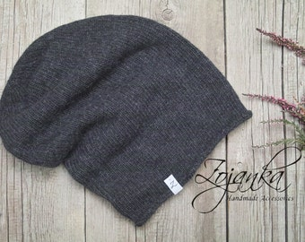 Winter KNIT beanie, hat, winter slouchy beanie, fall beanie, grey knit hat