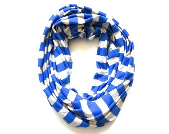 Striped Infinity Scarf - Men Women Teen Gift Ideas - Blue and Oatmeal Grey Stripes - Beach Nautical Sailor Style - Spring Accessory - Royal