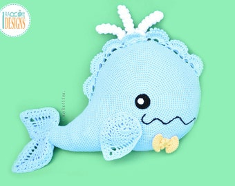 CROCHET  PATTERN Joyce and Justin Whale Pillow PDF Crochet Pattern with Instant Download