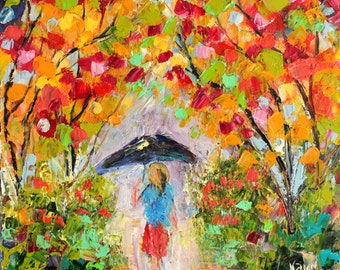 Original oil painting Colorful Stroll abstract palette knife impressionism on canvas fine art by Karen Tarlton