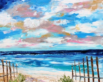 Original oil painting Where the Ocean Meets the Sky palette knife impressionism on canvas fine art by Karen Tarlton