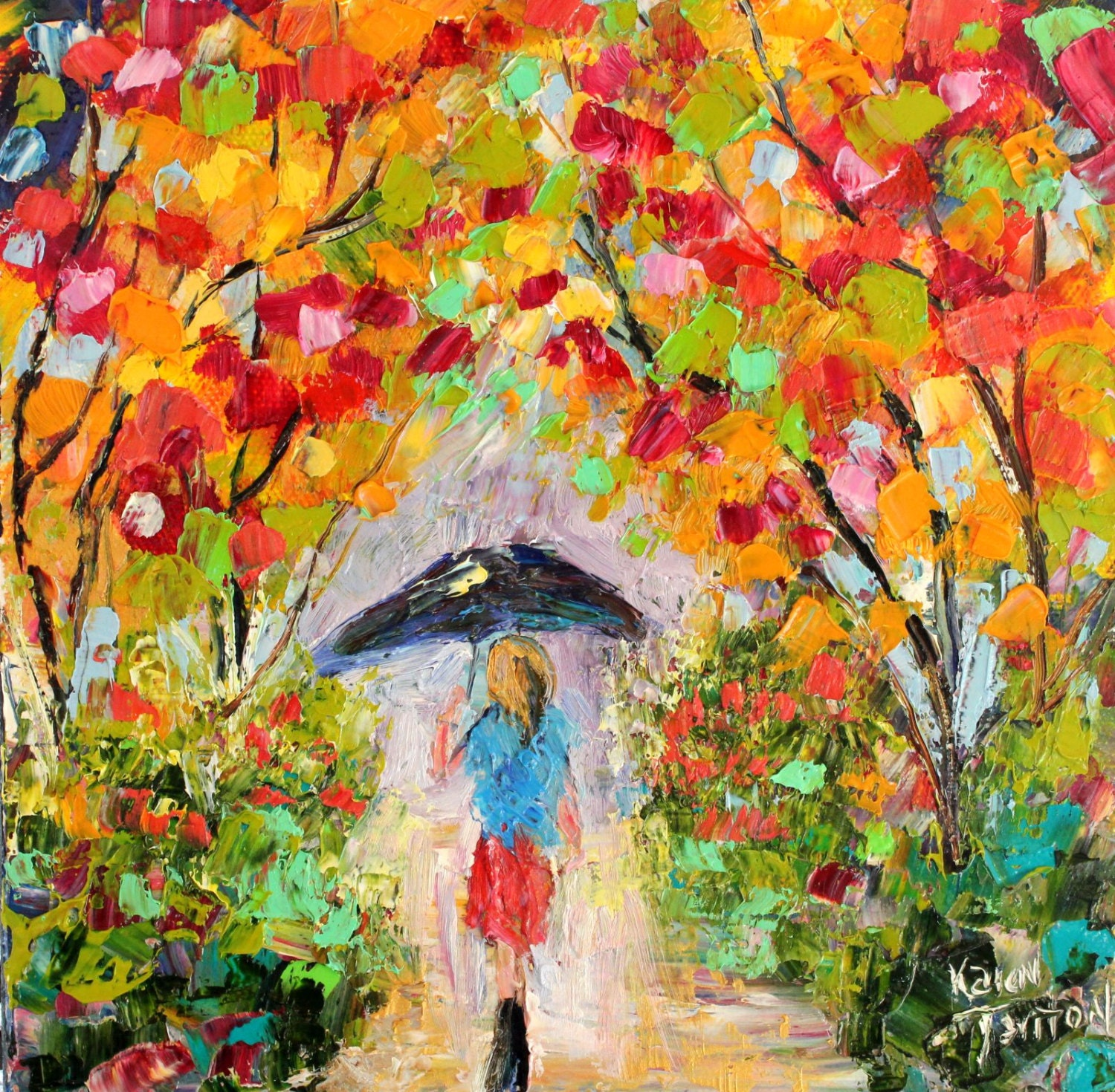 Original Oil Painting Colorful Stroll Abstract Palette Knife