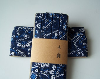 3 Yards Handmade Cotton Bias Tape Binding Navy Blue Bandana 1/2 Inch Double Fold