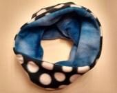 SALE One Size Cozy Fleece Neckwarmer -  Polka Dot Black and Tie Dye Blue - Reversible!