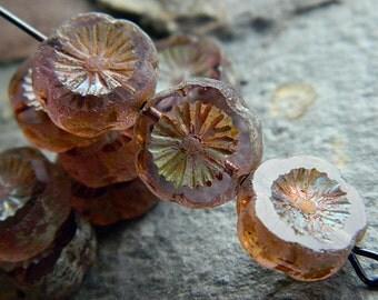 12mm Rose pansy flower beads, Table Cut Flower Beads, Czech glass flower coin beads (10pcs) NEW