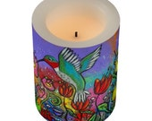 The Tiny Harbinger of Spring Hummingbird Flameless Candle and Wrapper 3 x 4