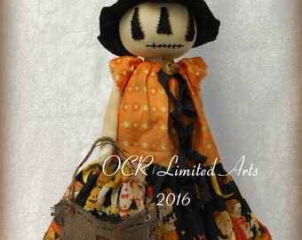 Primitive Folk Art Halloween Pumpkin Boo Doll Autumn Fall Jack O lantern Banner Home decor OOAK spooky cute