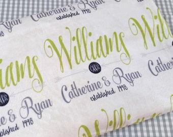 Personalized Wedding Gift Monogrammed Throw Blanket Engagement Present Anniversary Shower Gift Bride Groom Personalized Throw Blanket