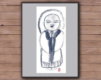 Jizo Buddha Painting, Buddhist art, Zen Brush Sumi-e Ink Painting, Original Zen Fine Art for zen decor, spiritual art, childs room, yoga art