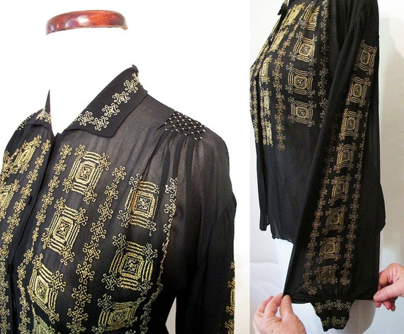 Lovely 1920's /1930's  Silk European Peasant Blouse with Hand Embroidery Rockabilly VLV Peasant Pin up Size-Large