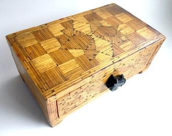 Vintage Matchstick Box, Folk Art Matchstick Box, Box with Drawer, Jewelry Trinket Box, Prisoner Folkart Matchstick Box, Prison Art Wood Box,