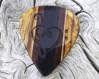 Multi-Wood Guitar Pick - Premium Quality - Handmade - Laser Engraved Both Sides - Actual Pick Shown - Mini Guitar Pick