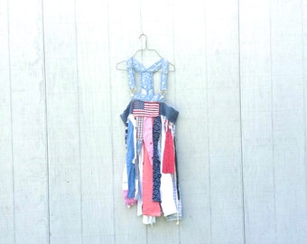 Patriotic USA funky overalls tunic patchwork cotton floral tunic upcycled romantic Upcycled clothing wearable art Artsy Dress by CreoleSha