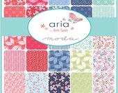 """SALE ARIA Charm Pack - Kate Spain for Moda - 5"""" Inch Precut Fabric Squares - Floral Charm Pack - Bright Cheerful Fabric Butterflies"""