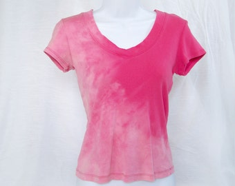 "Pink rose acid washed ""s"" ladies girls women baby doll Mossimo shirt blouse top bleached acid wash NOT tie dye (shirt no.125)"