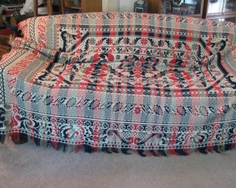 "Antique 1860s Pennsylvania Woven Wool and Cotton Coverlet - 90"" by 82"" w/ the Fringe - Wonderful Condition"