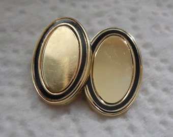 9.3 Grams 14K Gold Single Cufflinks Cuff Button With Black Enamel