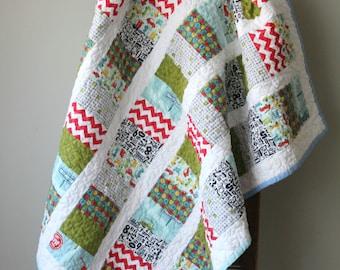 Modern Baby Car Quilt, Coin Stacked Quilt, Nursery Bedding, Toddler Quilt, Crib Quilt, Baby Boy Quilt, Blue, Green, Red, Handmade Quilt