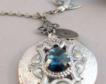 Victorian Sparrow,Sapphire,Sapphire Locket,Locket,Antique Locket,Silver Locket,Sparrow,Bird Locket,Initial,Hand Stamp,Personalized,Blue,