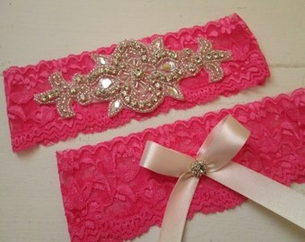 Hot Pink Wedding Garter Set, Pink PROM 2016 Garters, Bling Garters, Crystals, Rhinestones, Rustic-Vintage-Country Bride