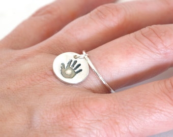 Personalized Handprint or Footprint ring, Footprint Ring, Handprint Ring, Mothers Day Gift, New Mom Gift, gifts for new moms, baby handprint