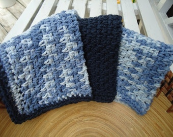 Set of Three Handmade Crocheted Washcloths or Dishcloths in Shades of Blue