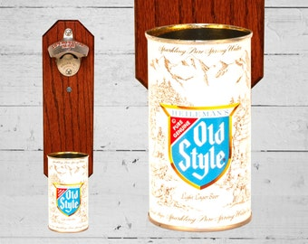 Heileman's Old Style Wall Mounted Bottle Opener with Vintage Beer Can Cap Catcher