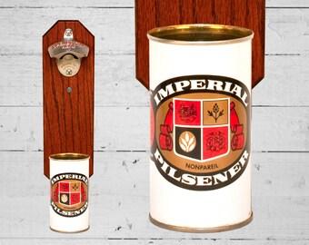 Wall Mounted Bottle Opener with Vintage Imperial Pilsener Beer Can Cap Catcher - Great Gift for Groomsmen Dad Grad