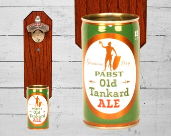 Gift for Men Bottle Opener with Vintage Pabst Old Tankard Ale Beer Can Cap Catcher - Great Gifts for Groomsmen