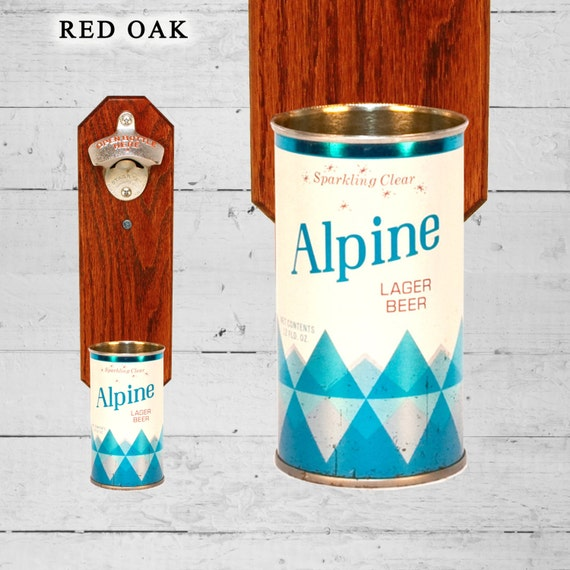 Alpine Wall Mounted Bottle Opener with Vintage Beer Can Cap Catcher - Gifts for Groomsmen Dad Father
