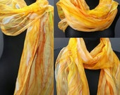 Sunny yellow hand painted silk scarf with golden and copper gutta lines by SingingScarves. Elegant chiffonscarf for her