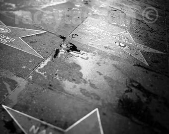 Hollywood Walk of Fame, Los Angeles, California Print, Black and White, Hollywood Blvd, Office Decor Print