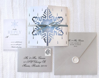 Snowin' Love - Laser-Cut Snowflake Invitation - SAMPLE ONLY (Price is not full order per unit price, see description)