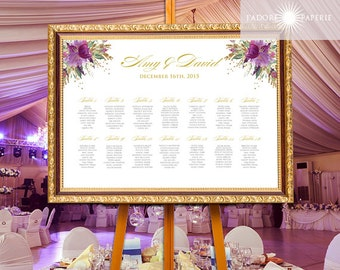 Purple Seating Chart, Floral Watercolor Seating Chart, Printable Wedding Seating Chart, Reception Map, Sparkling, Glitter, jadorepaperie