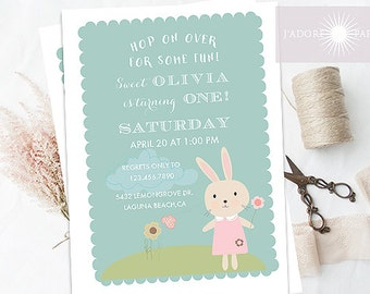 Printable Birthday Invite, Bunny Birthday Invite, Bunny First Birthday Invitation, 1st birthday, Spring Birthday, Birthday, jadorepaperie