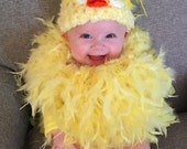 Baby Bird Hat- Easter Hat-Girl Newborn Hat-Baby Animal Hat-Baby Chick Hat-Newborn Photography Prop-Hat with Feathers-Sizes 0-24 Months