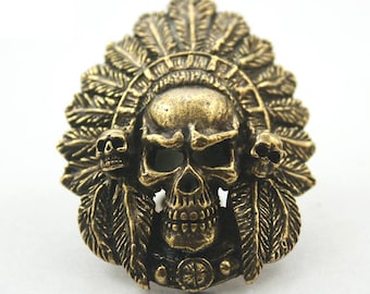 1 pc. Antique Brass Indian Skull Head Studs Screwback Leathercraft Decorations Findings 34x45 mm. SK ScInd 1503
