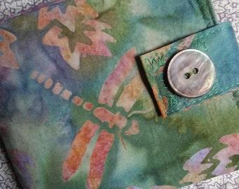 Womens Ultra Thin Wallet - dragonfly batik - wallet with a coin pocket FREE SHIPPING