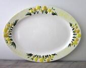 Vintage Oval Yellow Mushroom Serving Platter