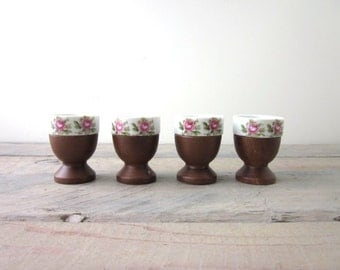 Porcelain and Wood Egg Cups Set of Four with Pink Flowers