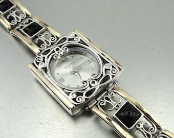 Onyx Silver Watch, Handmade Watch, Fine 9k Yellow Gold 925 sterling Silver Filigree onyx Bracelet Watch, Israel Jewelry (s b 3010bo)
