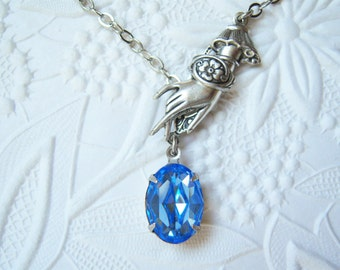 Swarovski light sapphire crystal victorian hand necklace - MJ300