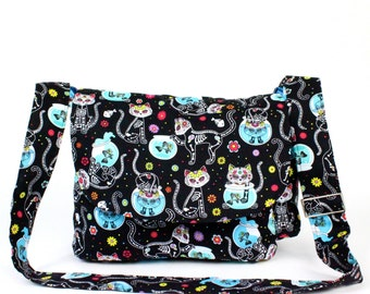 Cat Day of the Dead / Dia de los Muertos Inspired Bag