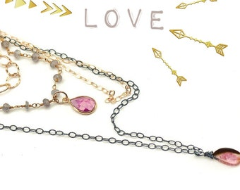 Multi Strand Mixed Metal Necklace with Labradorite, Pink Sapphire, and Watermelon Tourmaline
