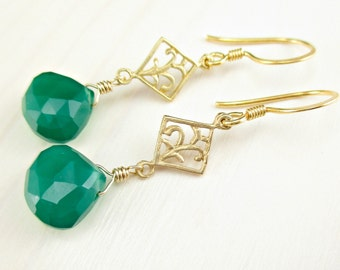 Green Onyx Gold Earrings, Gold Dangle Earrings, Emerald Green Gemstone Earrings, Vermeil Green Onyx Earrings, Onyx Jewelry, Gold Jewelry