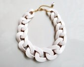 White Chain Statement Necklace, Oversized Chunky Chain Necklace, White Short Necklace